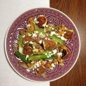 warm sald of fig, sweet potato and feta